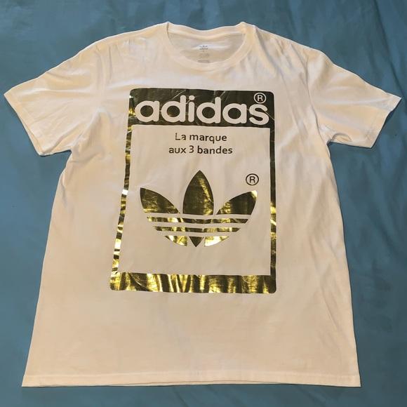 Adidas Originals Graphic T Shirt WhiteGold